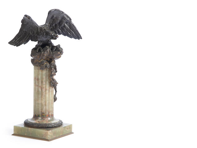 A Federal style cast and patinated bronze eagle on a green onyx stand<BR />late 19th century
