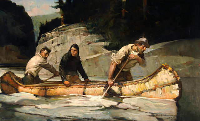 Frank Earle Schoonover (American, 1877-1972) Three Men in a Canoe 28 x 46in