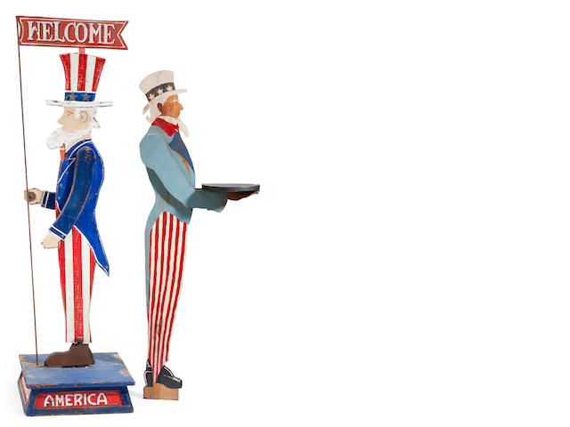 A painted wood figure of Uncle Sam, together with a similar Uncle Sam card stand<BR />first half 20th century