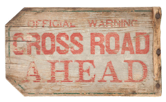 A group of four wood and glass town and directional signs<BR />early to mid-20th century