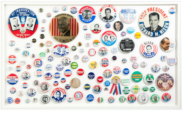Three framed groups of political campaign pins