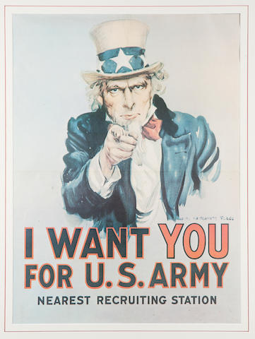 Three framed Uncle Sam posters