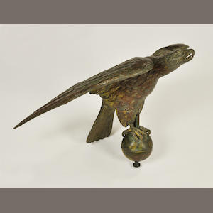 A copper and zinc wingspread eagle weathervane. late 19th century