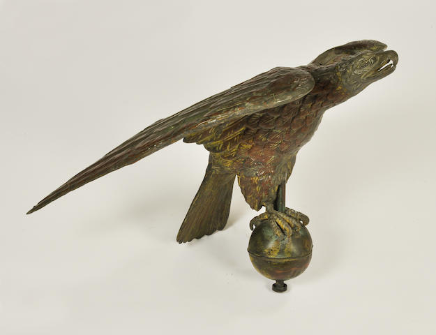 A copper and zinc wingspread eagle weathervane<BR />late 19th century