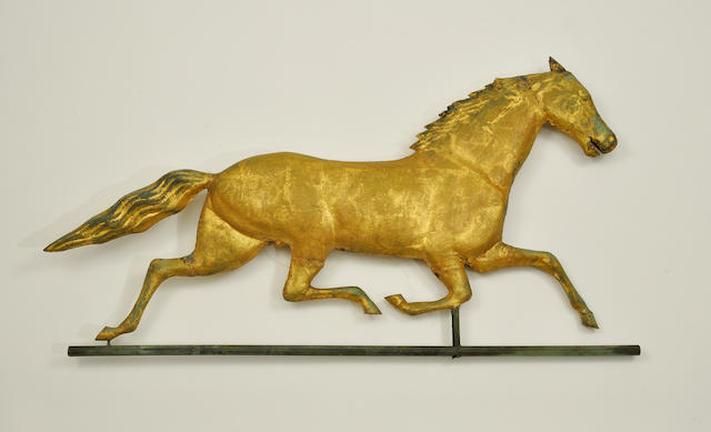 A gilt copper and zinc running horse weathervane<BR />late 19th century