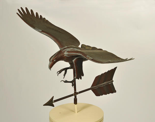 Two copper wingspread eagle weathervanes<BR />second half 20th century