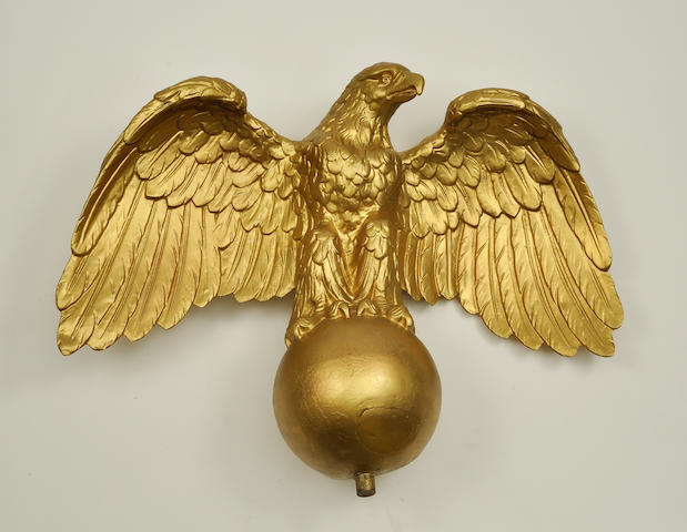 A gilt copper wingspread eagle weathervane late 19th century