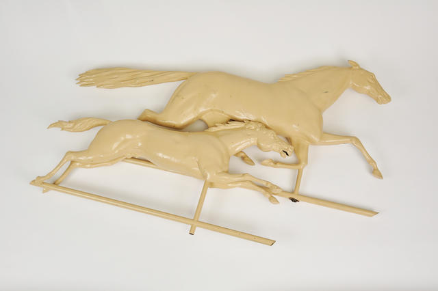 A pair of cream painted copper and zinc running horse weathervanes<BR />late 19th century