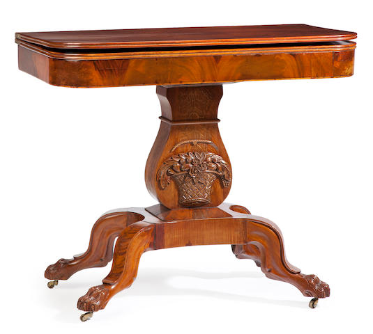 A Classical carved mahogany lyre base card table<BR />probably Boston area, first quarter 19th century