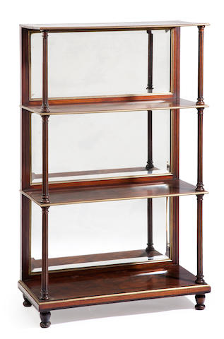 A Louis XVI style mahogany and brass mounted étagère<BR />late 19th century