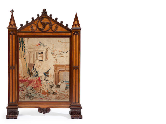 A Victorian Gothic Revival mahogany and satinwood needlepoint firescreen<BR />mid-19th century