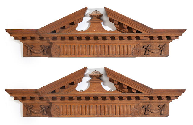 A pair of Palladian style carved oak pediments<BR />circa 1900