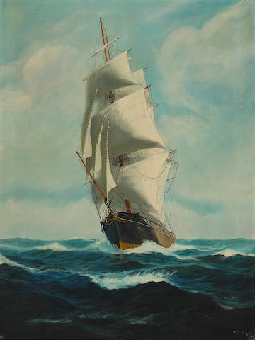 T. Bailey (American, 20th century) Ship at Sea 32 x 24in (81.2 x 60.9cm)