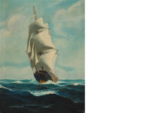 T. Bailey (American, 20th century) Ship at Sea 32 x 24in