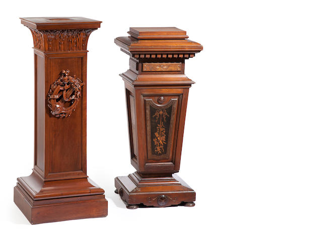 A late Victorian walnut and marquetry inlaid pedestal, together with a Neoclassical style mahogany pedestal 19th century