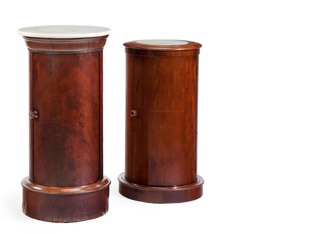 Two mahogany and marble cylinder cabinets, probably French 19th century