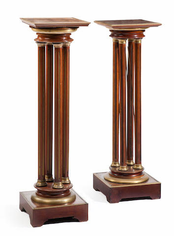 A pair of Louis XVI style mahogany and brass mounted column form pedestals late 19th century