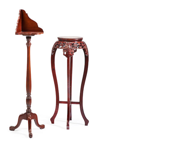 A Federal style mahogany lectern stand, together with a Chinese export carved wood and marble inset tall stand<BR />20th century