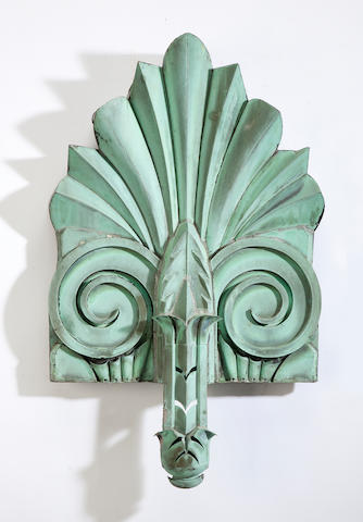 An Art Deco patinated zinc architectural element early 20th century