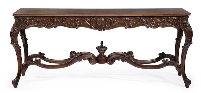 A Rococo style carved walnut library table early 20th century