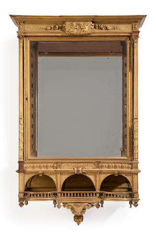 A Renaissance style carved and giltwood beveled glass hanging wall vitrine cabinet late 19th/early 20th century