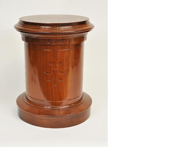 A Victorian mahogany cylinder pedestal 19th century approximate height 25in