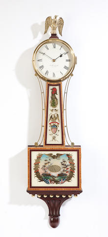 A Federal style mahogany and eglomise banjo clock After a model by E. Howard & Co., Boston.