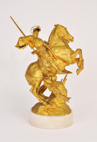 A gilt bronze study of St. George slaying the dragon Cast after a model by Fremiet. height 19 ½in