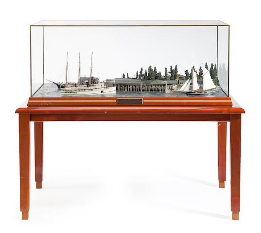 "A diorama ""Frenchman's Bay Rendezvous"" - Moosehead  41-3/4 x 17-1/8 x 21-3/4 in. (106 x 43.4 x 55.2 cm.) cased."