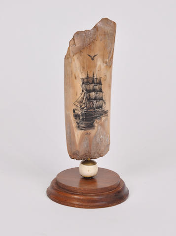 A ship scrimshawed on a piece of fossilized mammoth ivory height 6 ¼in