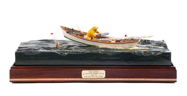 "A diorama ""The Catch""  21-1/2 x 10-1/8 x 18 in. (54.6 x 25.7 x 45.7 cm.) cased."