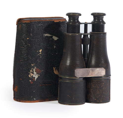 A pair of binoculars presentation binoculars to the Essex for rescue of the crew off PEI, 1879