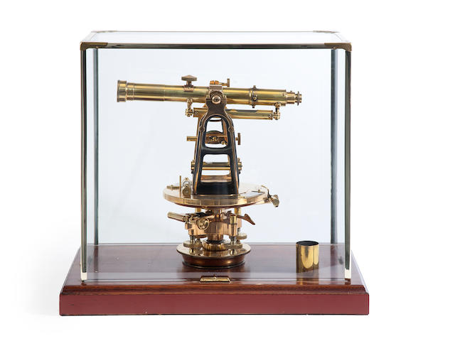 A brass Theolodite by Buff & Buff, Boston, USA in a mahogany and glass case 19 ½ x 12 ¼ x 17 ½in