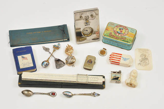 A collection of ocean liner memorabilia Including: 4 souvenir spoons, lighters, calendar, soap and other pieces.