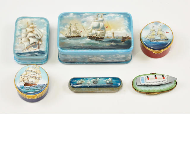 A group of six Russian and English enamel boxes. Various sizes