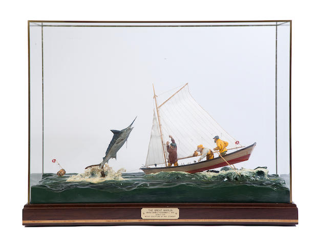 "A diorama ""The Great Marlin""  25 x 11 x 18 in. (63.5 x 27.9 x 45.7 cm.) cased."
