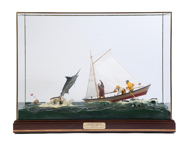 "A diorama ""The Great Marlin"" by Rex Stewart 25 1/2in"