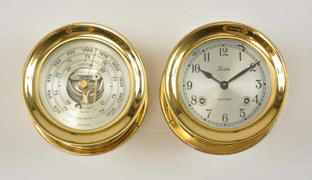 A 4–inch Chelsea clock and barometer set marked Boston