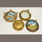 A group of 11 portholes, of various sizes the largest 21in diameter, 6 with inset watercolors