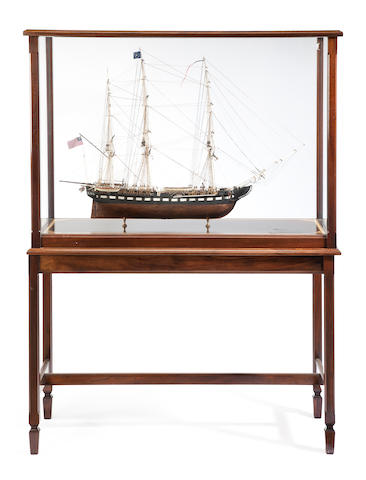 A model of the U.S.F. Constitution  Modern, 20th century 48-1/4 x 19 x 63-1/2 in. (122.5 x 48.2 x 161.2 cm.) model on stand. 2