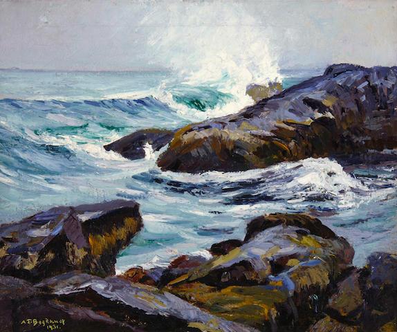 Abraham Jacob Bogdanove (Russian/American, 1887-1946) Monhegan Island Surf 20 x 24in