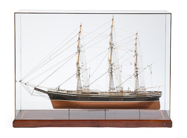 A folk art model of an American clipper ship width 36 1/2in, cased