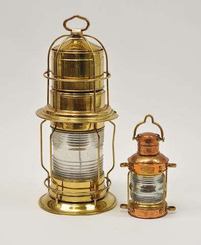 Brass post lantern and a copper and brass anchor light (electrified)