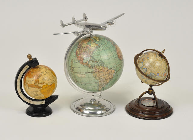 Group of three 20th century globes