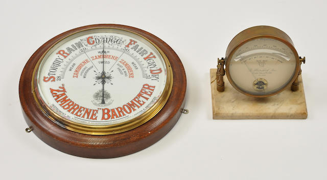 B. Plastschick brass thermometer with marble base and A stained oak and enameled circular wall barometer<BR />late 20th century