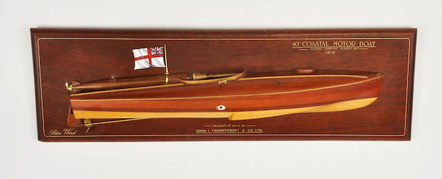 A half model of a British coastal patrol boat  20th century 7-1/2 x 24-3/4 in. (19 x 62.6 cm.)
