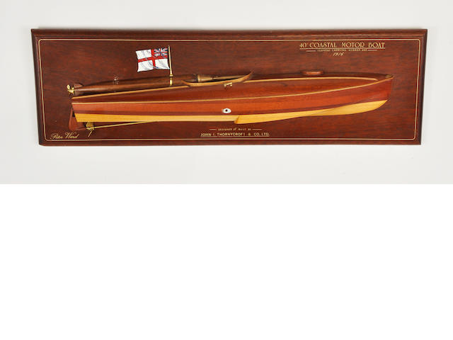 Half model British 40' Coastal motor boat