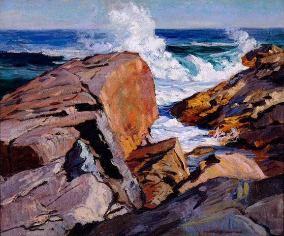 Abraham Jacob Bogdanove (Russian/American, 1887-1946) Rocky Shore with Waves 29 1/2 x 35 1/2in (74.9 x 90.2cm)