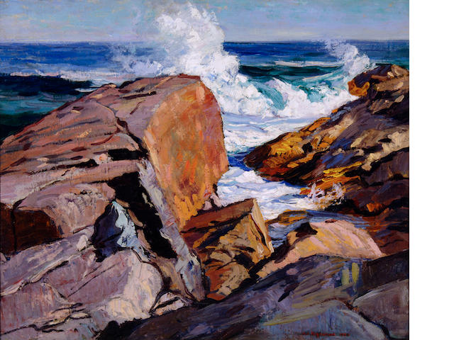 Abraham Jacob Bogdanove (Russian/American, 1887-1946) Rocky Shore with Waves 29 1/2 x 35 1/2in