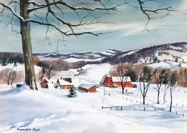 Ranulph Bye (American, 1916-2003) Snow Scene sight 13 1/2 x 20in (34.3 x 50.8cm)
